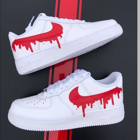 Nike Shoes Red Drip Custom Air Force 1 Poshmark